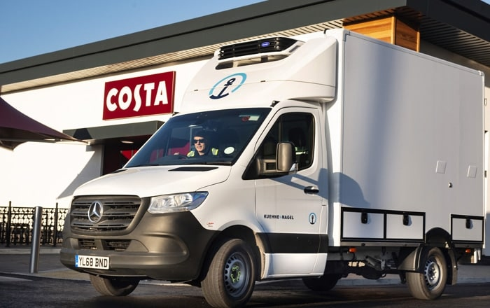 Ryder Supplies New Mercedes-Benz Sprinter Custom Vans With Fridges To Kuehne & Nagel/Costa Coffee.